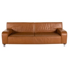 Leolux B-Flat Leather Sofa Brown Three-Seater Function Couch
