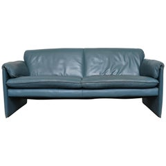 Leolux Blue Leather 'Bora Bora' Sofa