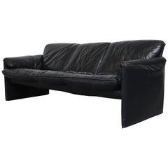 Leolux 'Bora Bora' Black Leather 3-Seat Sofa