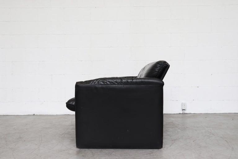 Mid-Century Modern Leolux 'Bora Bora' Black Leather Sofa For Sale