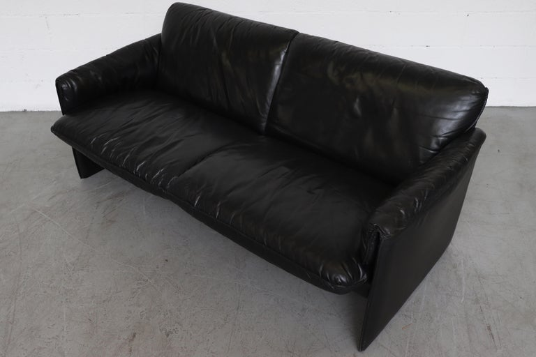 Late 20th Century Leolux 'Bora Bora' Black Leather Sofa For Sale