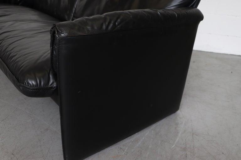 Leolux 'Bora Bora' Black Leather Sofa For Sale 2
