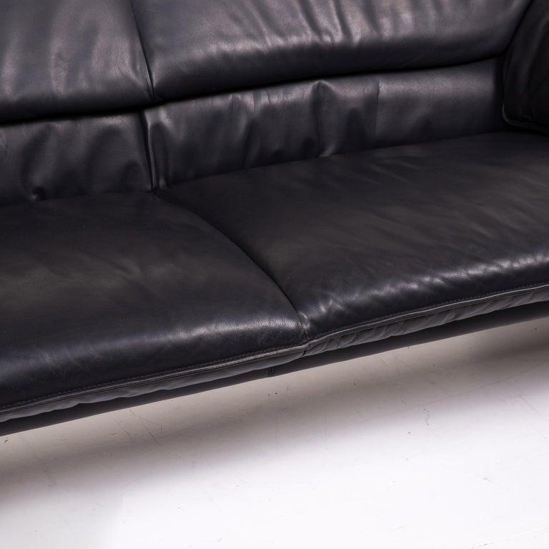 Modern Leolux Bora Leather Sofa Black Two-Seat Couch