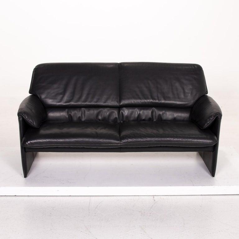 Contemporary Leolux Bora Leather Sofa Black Two-Seat Couch