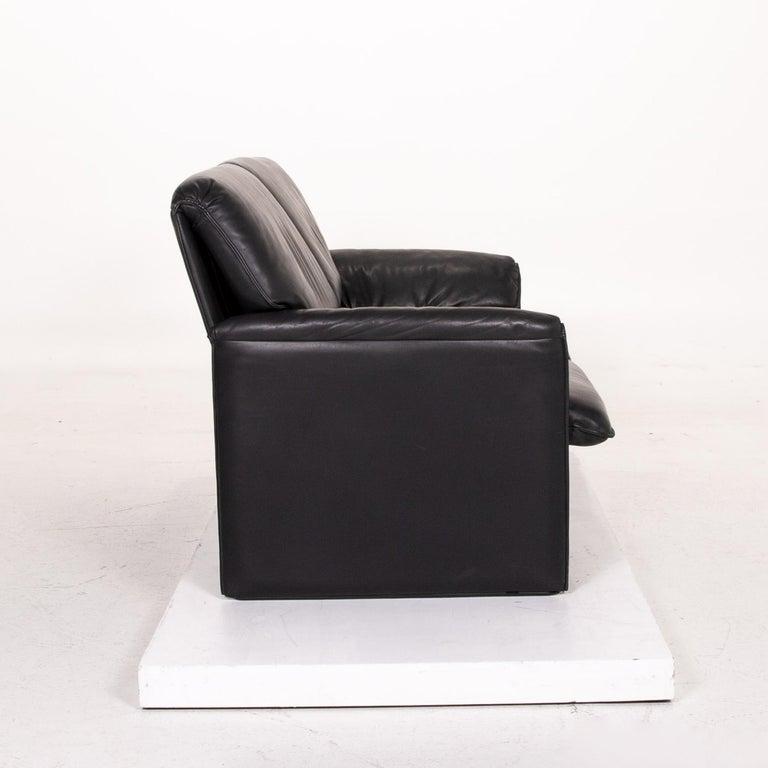 Leolux Bora Leather Sofa Black Two-Seat Couch 1