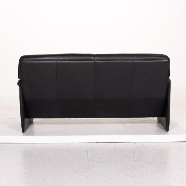Leolux Bora Leather Sofa Black Two-Seat Couch 2