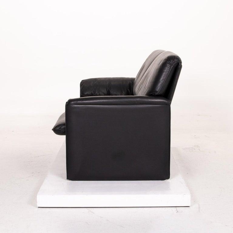 Leolux Bora Leather Sofa Black Two-Seat Couch 3