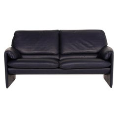 Leolux Bora Leather Sofa Blue Three-Seat Dark Blue
