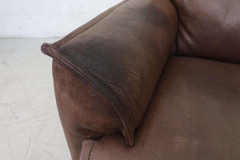 Well worn Leolux Buffalo Leather Love Seat For Sale 6