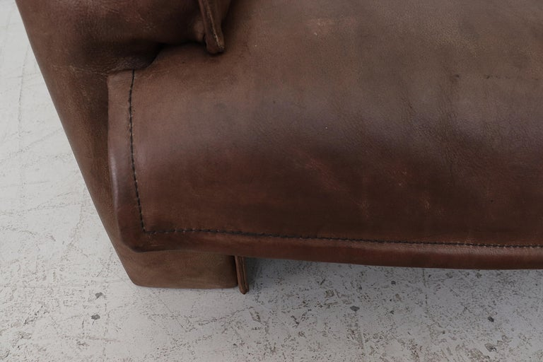 Well worn Leolux Buffalo Leather Love Seat For Sale 7