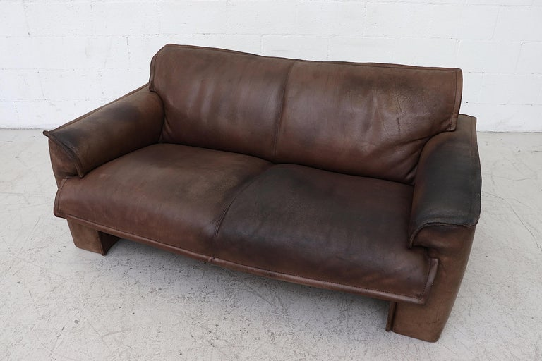 Well worn Leolux Buffalo Leather Love Seat For Sale 1