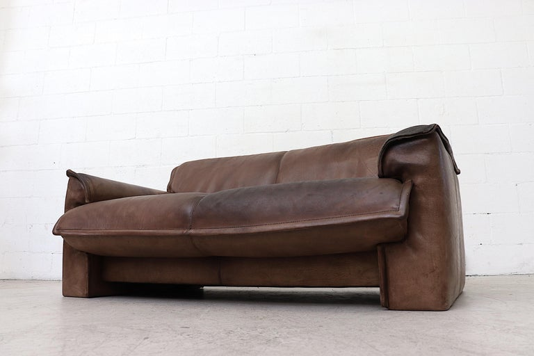 Well worn Leolux Buffalo Leather Love Seat For Sale 2