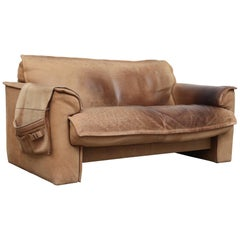 Leolux Buffalo Leather Loveseat with Side Saddle