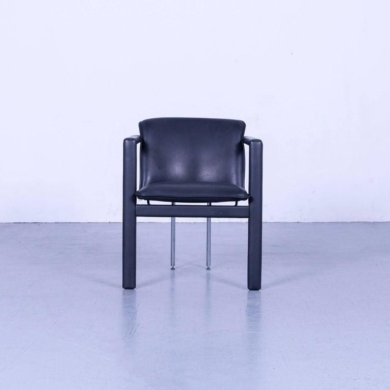 Dutch Leolux Cachucha Leather Armchair Set Black One-Seat