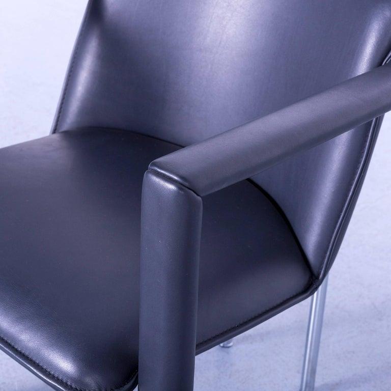 Contemporary Leolux Cachucha Leather Armchair Set Black One-Seat