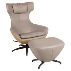 Leolux Caruzzo Plus leather armchair gray incl. Stool