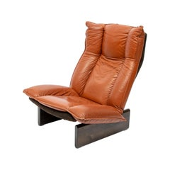 Cognac Leolux Leather And Wood Lounge Chair, Dutch Modern, 1970s
