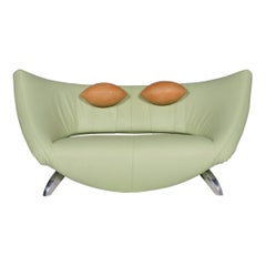 Leolux Danaide Leather Sofa Green Pistachio Green Electric Function Couch