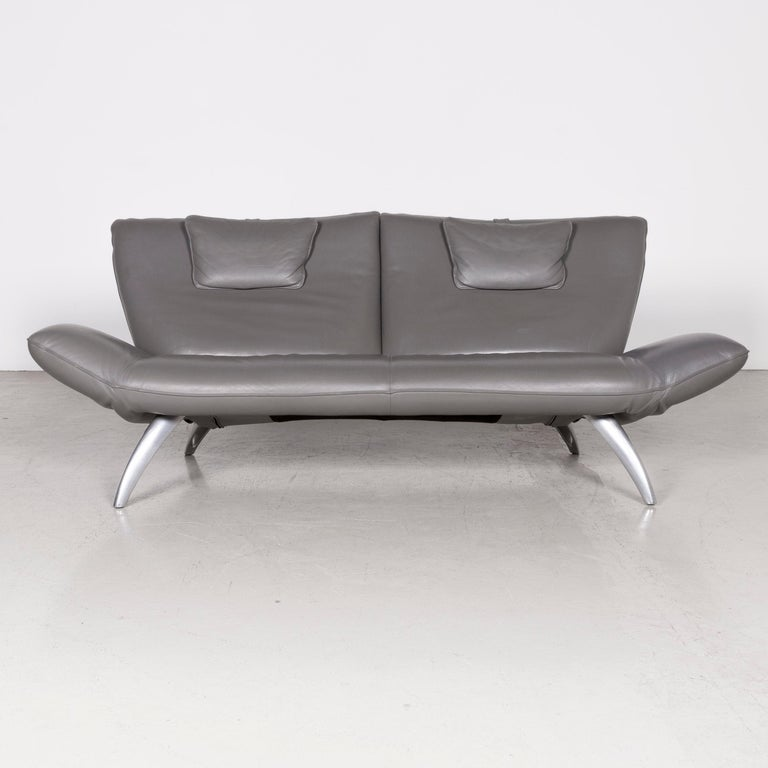 Leolux Designer Leather Sofa Grey Three-Seat Couch In Good Condition In Cologne, DE