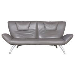 Leolux Designer Leather Sofa Grey Three-Seat Couch