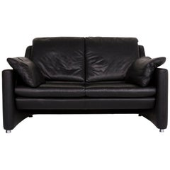 Leolux Fidamigo Leather Sofa Black Two-Seat Couch