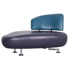 Leolux Kikko Designer Sofa Leather Blue Two-Seat Couch Modern