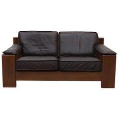Leolux Leather and Oak Sofa Loveseat