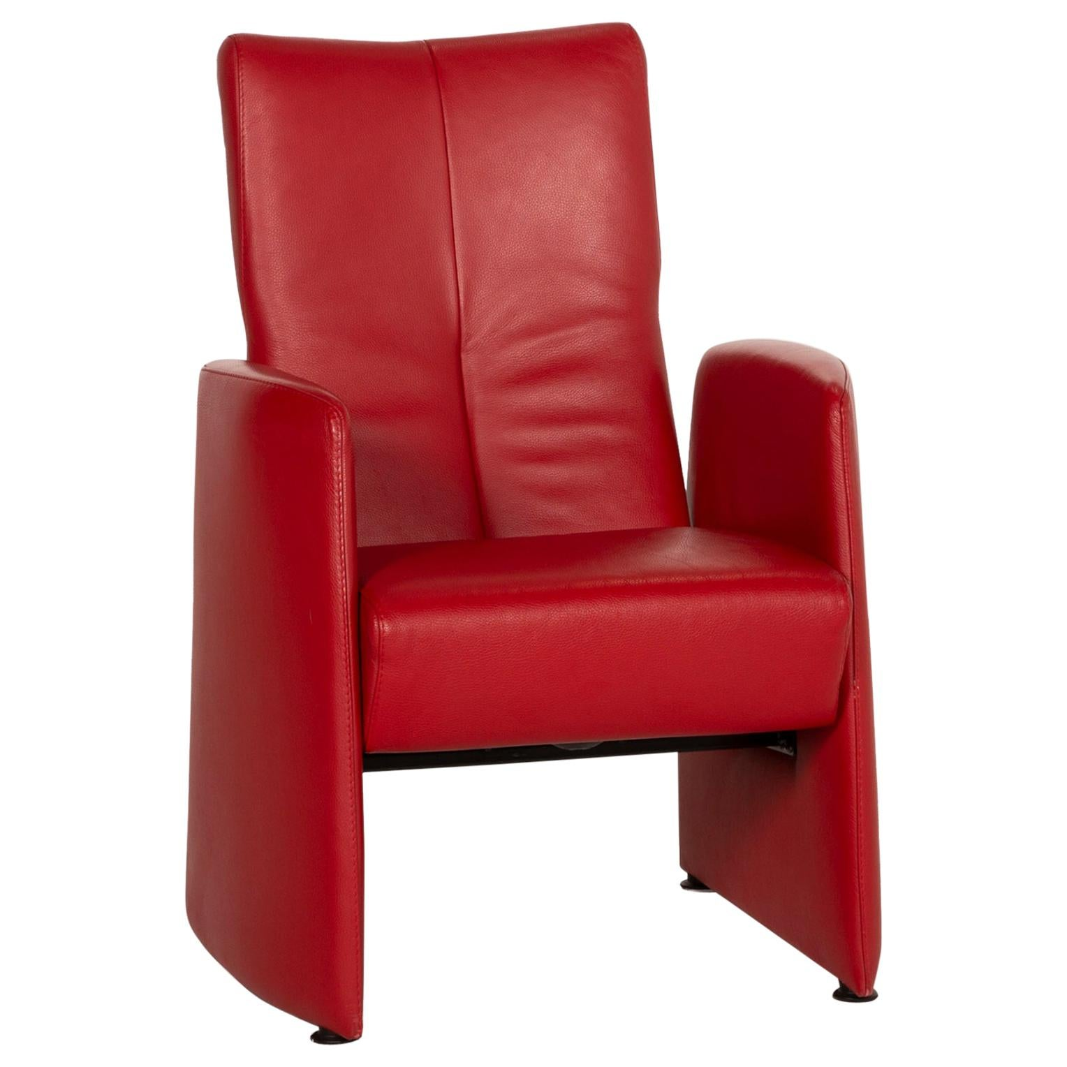 Leolux Leather Armchair Red Relaxation Function