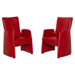Leolux Leather Armchair Set Red Relax Function Set