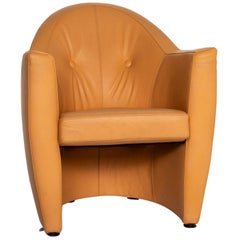 Leolux Leather Armchair Yellow Ocher Brown