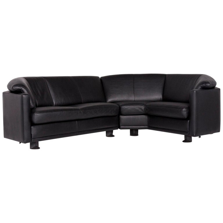 Leolux Leather Corner Sofa Black Sofa Couch