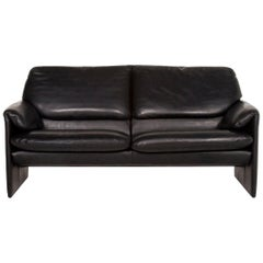 Leolux Leather Sofa Black Two-Seat Couch