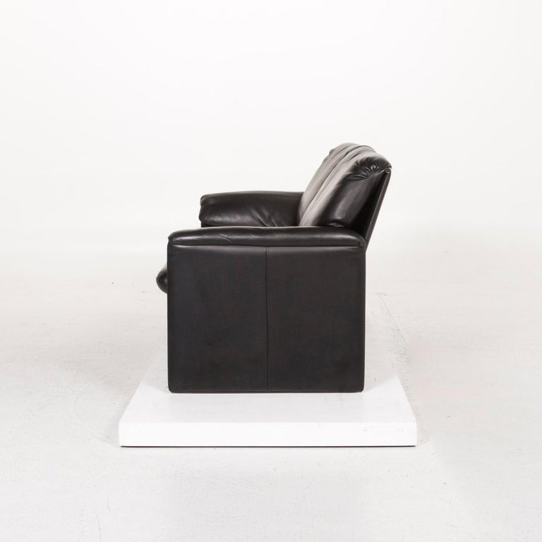 Leolux Leather Sofa Black Two-Seat Couch 4