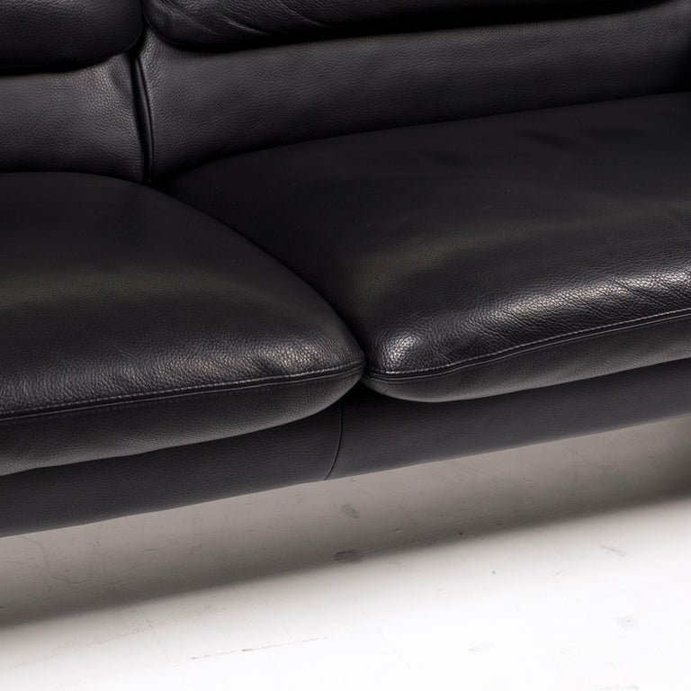 Modern Leolux Leather Sofa Black Two-Seat Couch