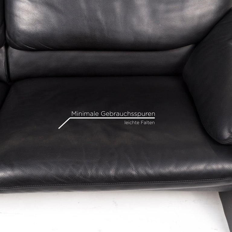 Dutch Leolux Leather Sofa Black Two-Seat Couch