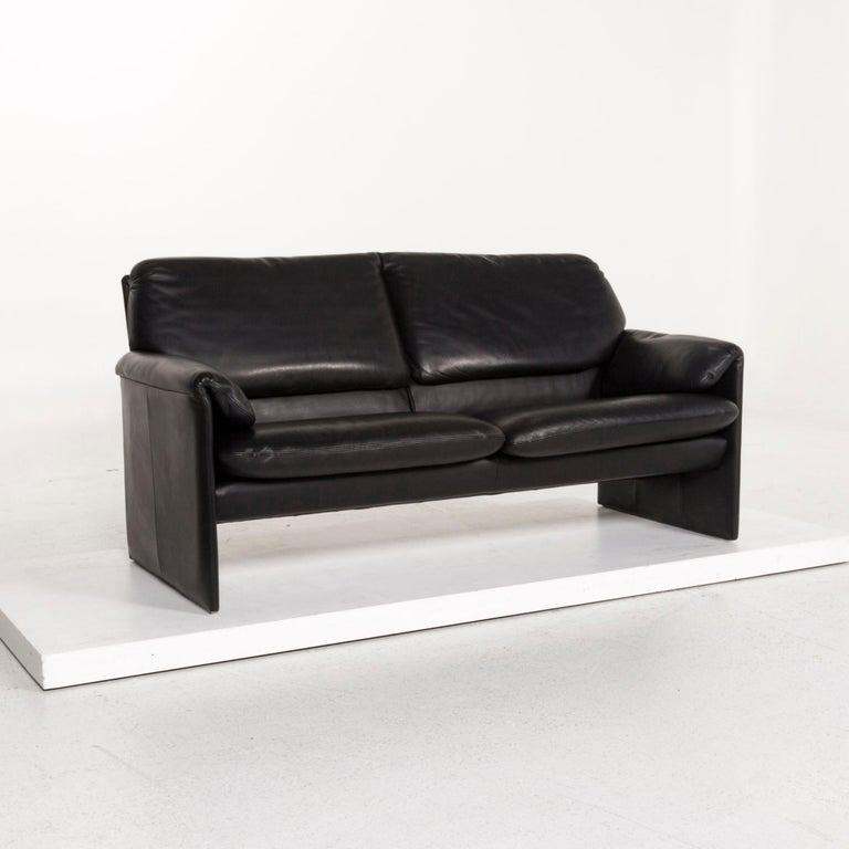 Contemporary Leolux Leather Sofa Black Two-Seat Couch