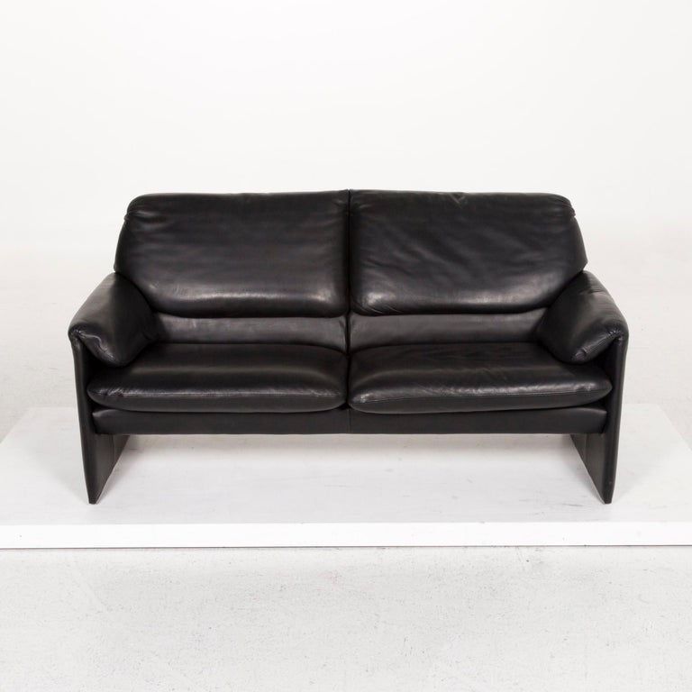 Leolux Leather Sofa Black Two-Seat Couch 1