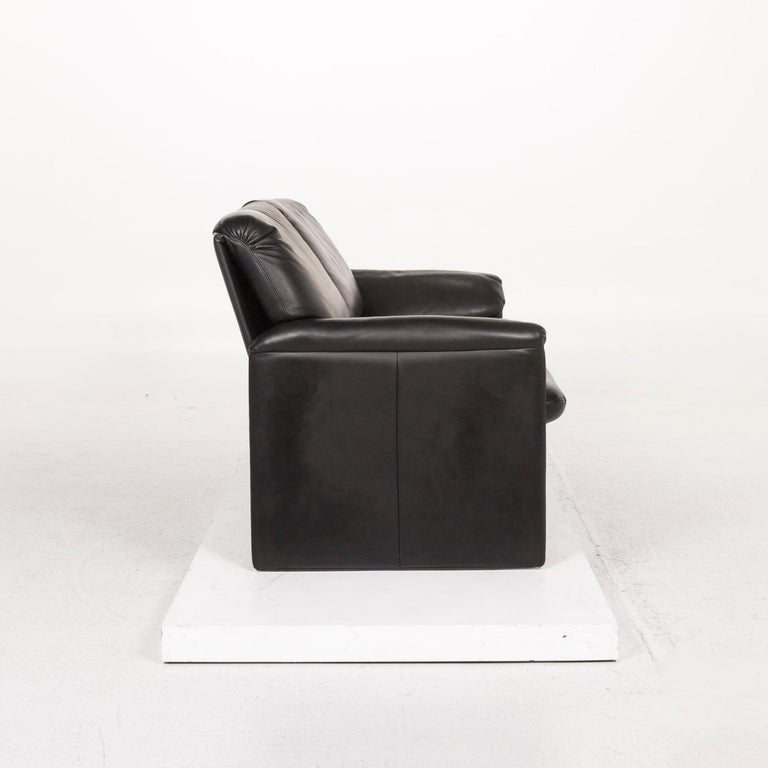 Leolux Leather Sofa Black Two-Seat Couch 2