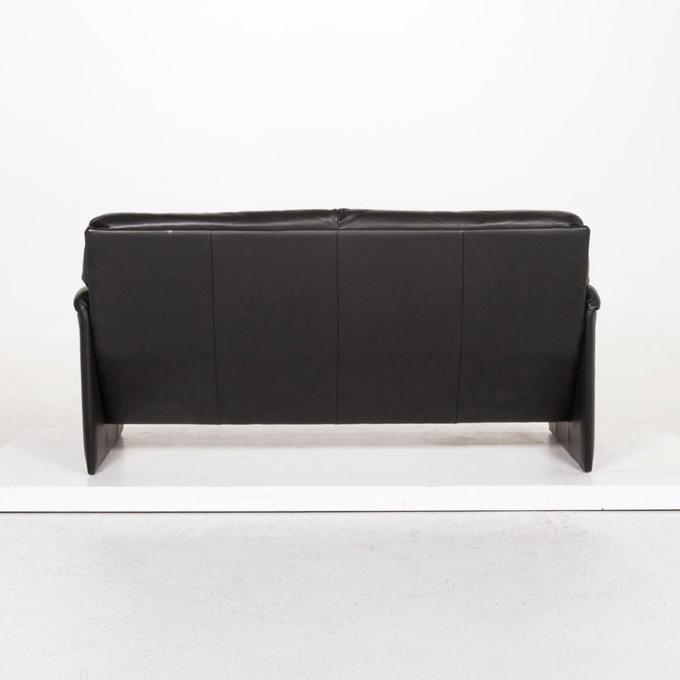 Leolux Leather Sofa Black Two-Seat Couch 3