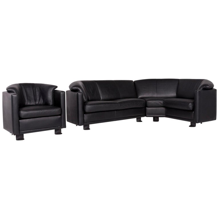 Leolux Leather Sofa Set Black 1 Corner Sofa 1 Armchair