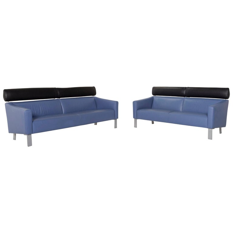 Leolux Leather Sofa Set Blue 1 Three-Seat 1 Two-Seat Couch