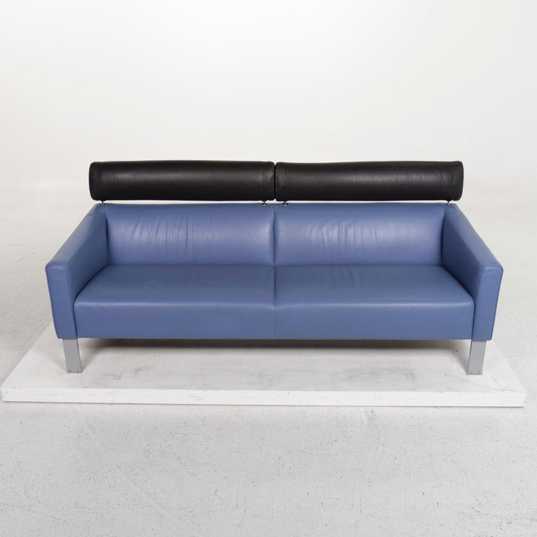 Leolux Leather Sofa Set Blue 1 Three-Seat 1 Two-Seat Couch 6