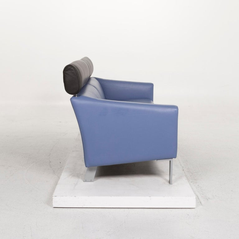Leolux Leather Sofa Set Blue 1 Three-Seat 1 Two-Seat Couch 7