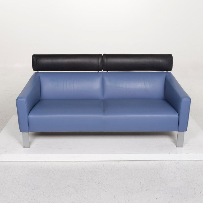Leolux Leather Sofa Set Blue 1 Three-Seat 1 Two-Seat Couch 8