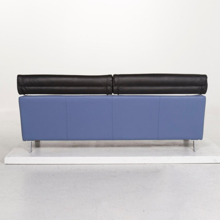 Leolux Leather Sofa Set Blue 1 Three-Seat 1 Two-Seat Couch 9