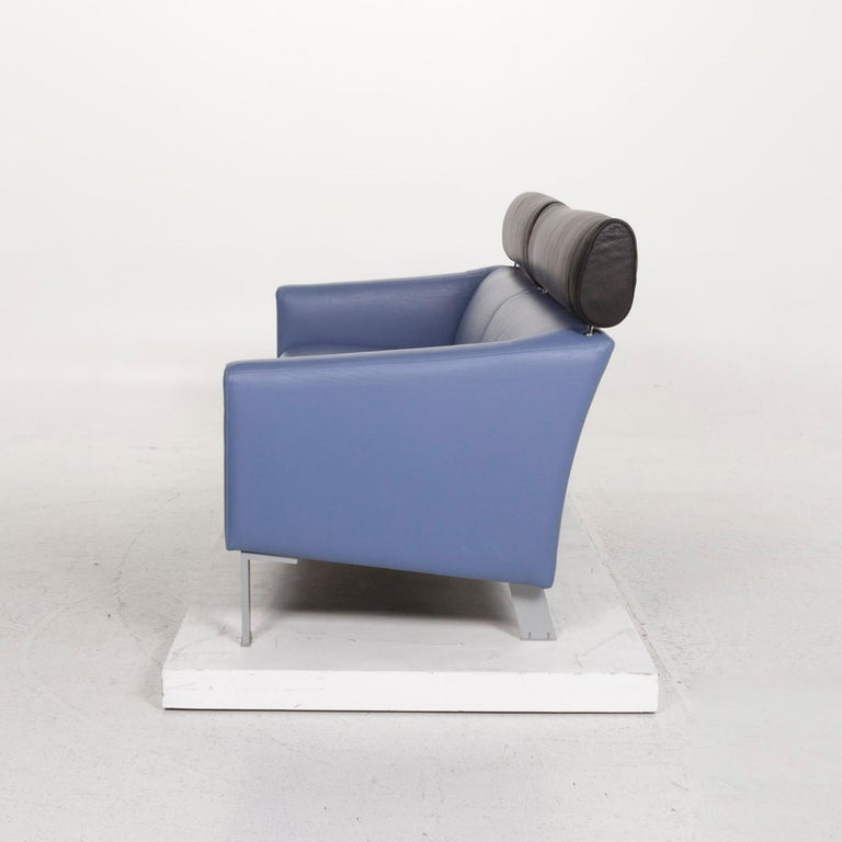 Leolux Leather Sofa Set Blue 1 Three-Seat 1 Two-Seat Couch 11