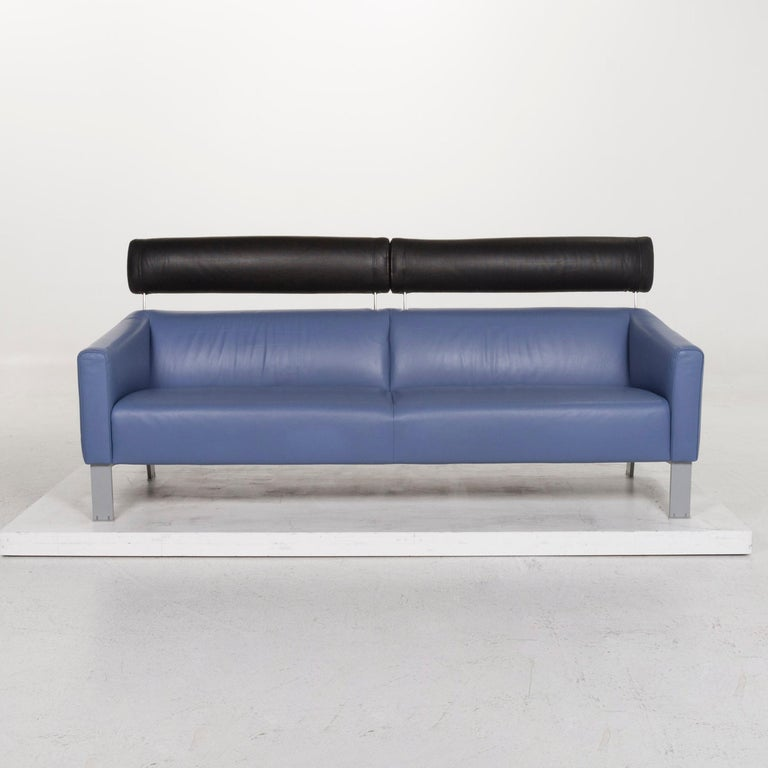 Dutch Leolux Leather Sofa Set Blue 1 Three-Seat 1 Two-Seat Couch