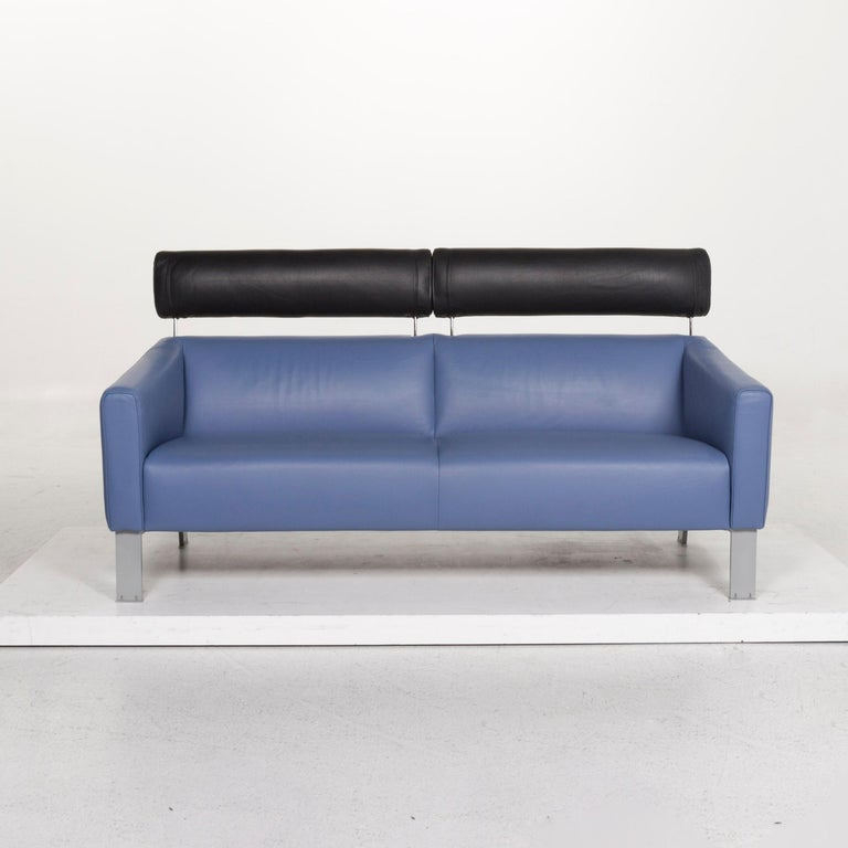 Leolux Leather Sofa Set Blue 1 Three-Seat 1 Two-Seat Couch In Good Condition In Cologne, DE