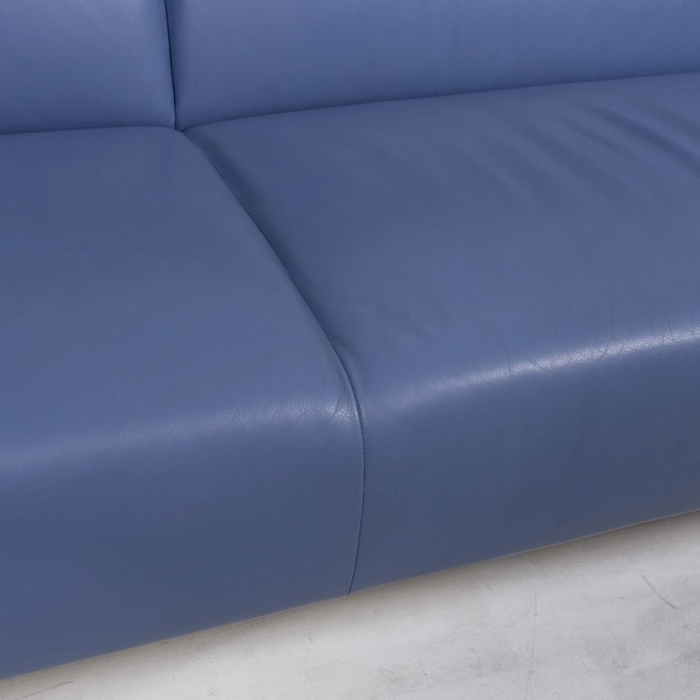 Contemporary Leolux Leather Sofa Set Blue 1 Three-Seat 1 Two-Seat Couch