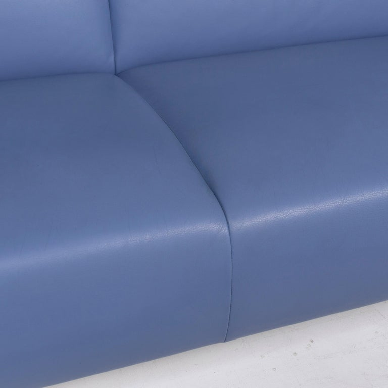 Leolux Leather Sofa Set Blue 1 Three-Seat 1 Two-Seat Couch 1